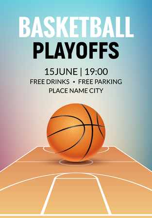 Basketball vector poster game tournament. Realistic basketball flyer design. Illustration