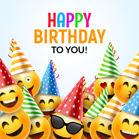 Birthday happy smile greeting card. Vector birthday background 3d colorful character design.