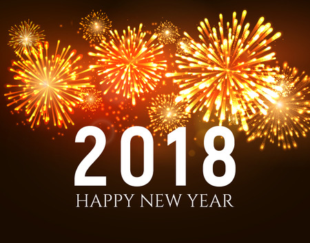 2018 New Year shiny fireworks vector illustration. Illustration