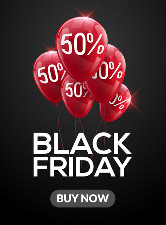 Black Friday sale banner balloons clearance discount poster.
