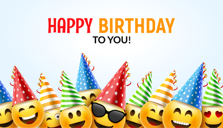 Happy birthday smiley greeting card vector illustration.