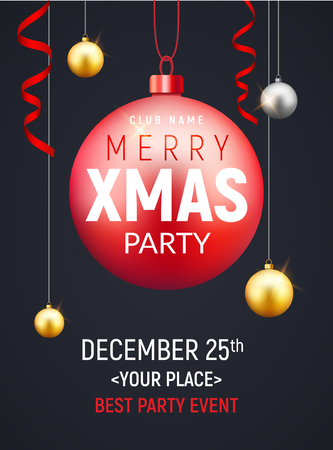 christmas party flyer with golden ball xmas invitation holiday background card with balls banner