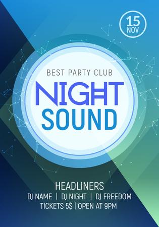 Electro dance party muziek nacht poster sjabloon. Elektro stijl concert disco club feest evenement uitnodiging.