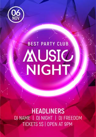 밤 댄스 파티 음악 밤 포스터 템플릿입니다. 전기 스타일 콘서트 디스코 클럽 파티 이벤트 전단지 초대.