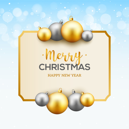 Christmas celebration greeting card background with gold and silver christmas balls. Christmas decoration. Illustration