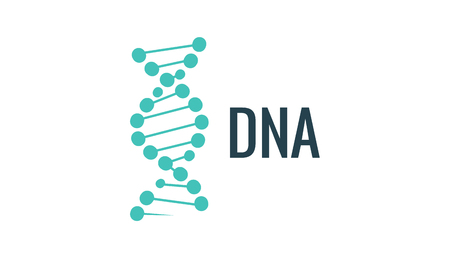 Vector DNA logo icon. Gene life or mollecule design. Biology concept illustration.