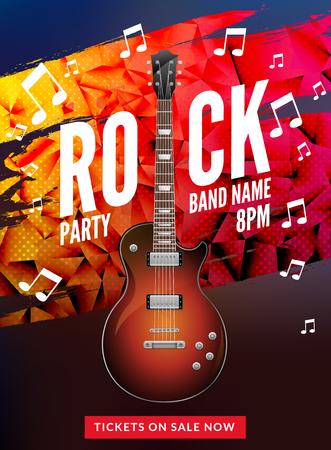Rock festival flyer event design template. Guitar rock vector poster music band. Stock fotó - 90365053