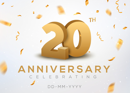 20th Anniversary gold numbers with golden confetti design template Иллюстрация