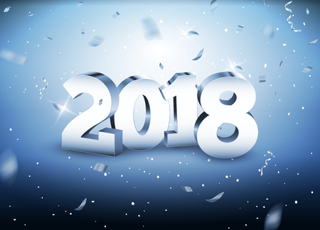 2018 3d silver numbers vector illustration