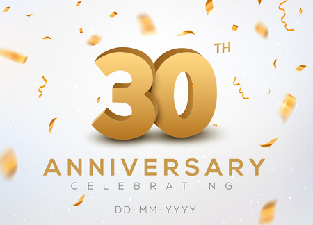 30 Anniversary gold numbers with golden confetti. Celebration 30th anniversary event party template. Illusztráció