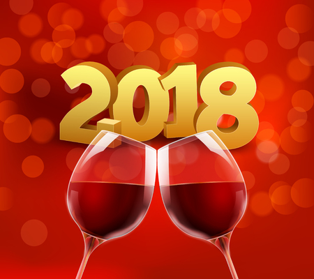 New year 2018 party celebration alcohol champagne background. Luxury two glasses and confetti holiday bokeh lights decoration.