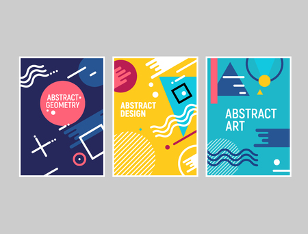 Memphis style cards geometric trendy fashion background design. Memphis shape graphic pattern cover poster template.