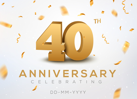 40 Anniversary gold numbers with golden confetti. Celebration 40th anniversary event party template.