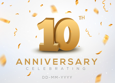 10 Anniversary gold numbers with golden confetti. Celebration 10th anniversary event party template. Illustration