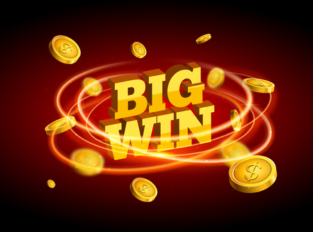 Biw win gold design prize for casino jackpot. Luck game banner for poker or roulette. Winner prize sign coins.
