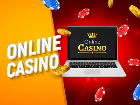 Online casino banner with laptop coins and falling chips. Roulette luck money game. Online poker casino .