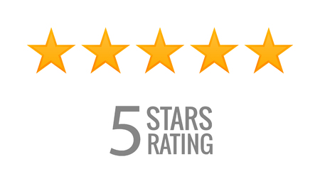 5 gwiazdek wektor ikona. Oceń głos jako symbol rankingu. Ilustracje wektorowe