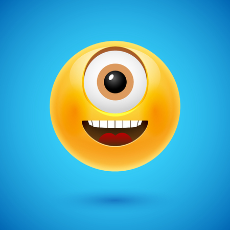 Happy smiley cyclops vector illustration. Cartoon character emoji.