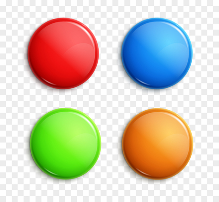 Blank colorful glossy badges isolated. Web buttons. Vector shape design blue, red, green and orange. Illustration