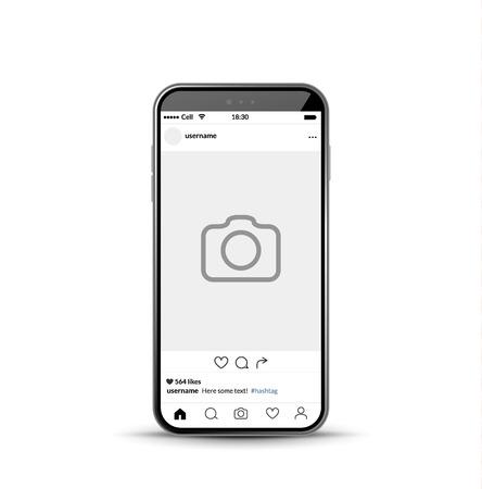 Social network photo frame mobile template. Social media app vector illustration. Vettoriali