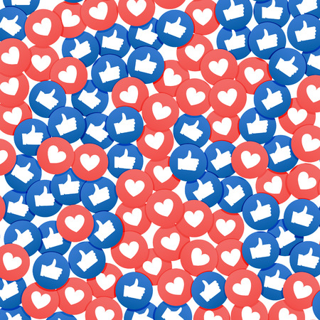 Social network marketing like and heart icon. Application social media background advertising.
