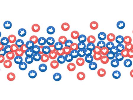 Comercialización de redes sociales como y el icono del corazón. Aplicación de fondo de publicidad en redes sociales.