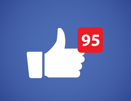 Thumbs up like social network icon. New likes number appreciation online. Web blogging concept. Иллюстрация