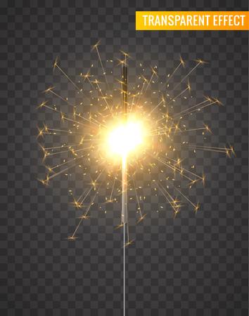 A Vector light sparkler decoration. Holiday sparkler firework background isolated bengal bright light.