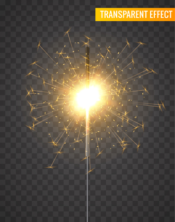 A Vector light sparkler decoration. Holiday sparkler firework background isolated bengal bright light.
