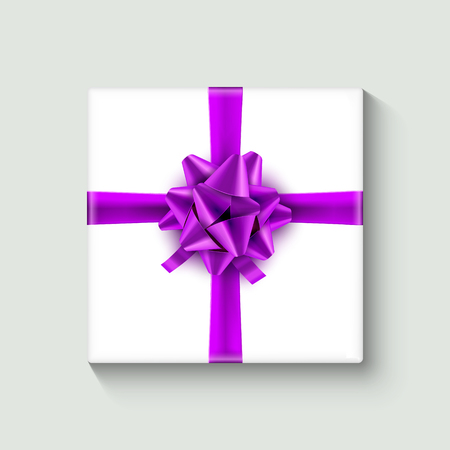 White gift box with lilac ribbon. Vector illustration.  イラスト・ベクター素材