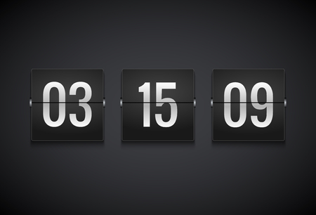 Countdown timer clock counter. Flip vector timer template. Display information of minute, hour.