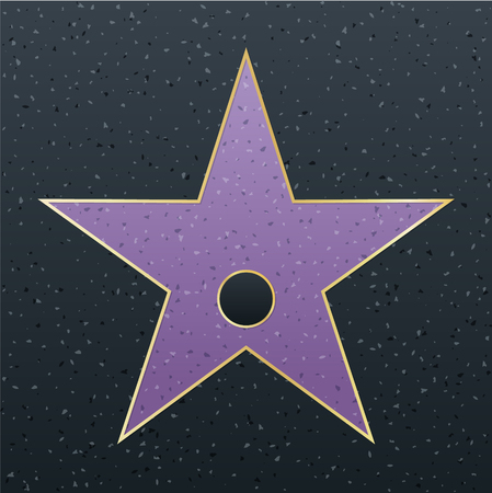 Walk of fame star illustration. Famous reward symbol. Achievement of actor celebrity. Fame symbol.