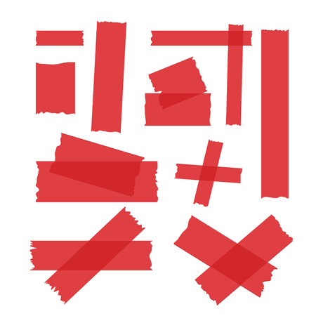 Adhesive tape set in color red. Illustration