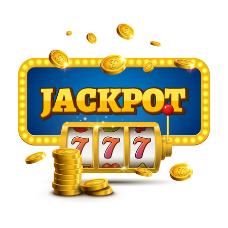 Slot machine lucky sevens jackpot concept 777. Vector casino game.