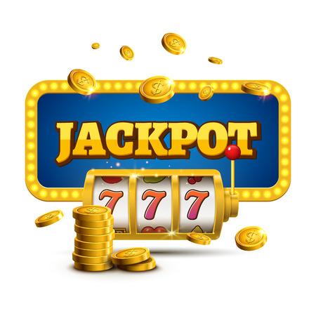 Slot machine lucky sevens jackpot concept 777. Vector casino game. Vectores