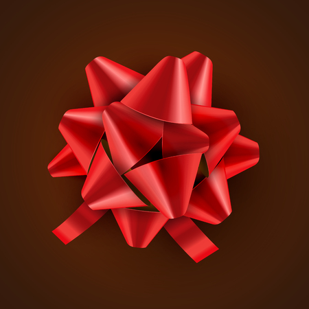 Red Bow ribbon isolated. Vector illustration