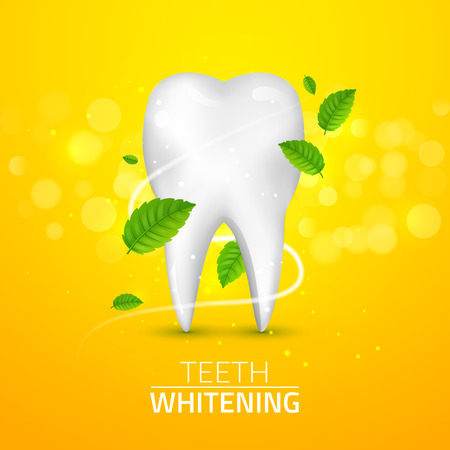 Whitening tooth ads, with mint leaves on green background. Green mint leaves clean fresh concept.
