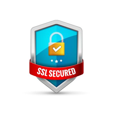 SSL Protection shield guard icon. Security ssl protect sign symbol. Vector illustration. Stock Vector - 96616280