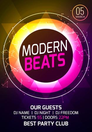 Modern techno party music poster. Vector illustration. Illustration