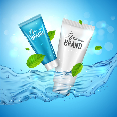 Cosmetics product advertising illustration poster. Vector cosmetic skincare bottle design with water. Illustration