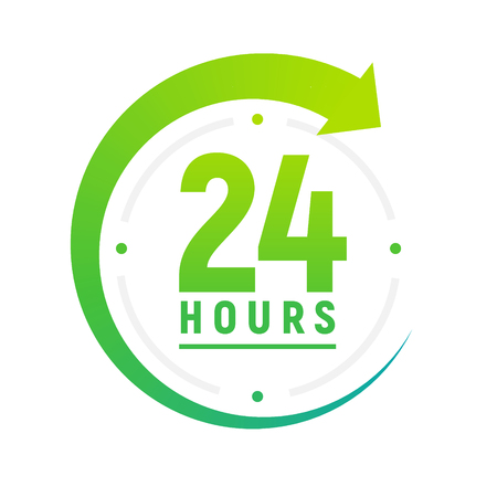 24 hours a day icon. Green clock icon around work. Service time support 24 hour per day.  イラスト・ベクター素材