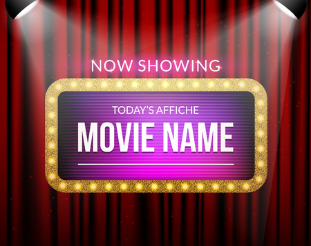 Cinema billboard now showing. Vector sign for theater with lights. Shiny banner decoration curtains. Illustration