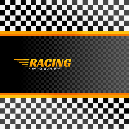 Racing background with race flag, vector sport design banner or poster. Vectores