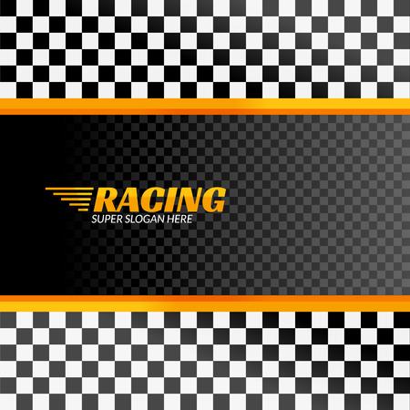 Racing background with race flag, vector sport design banner or poster. Ilustração