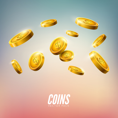 Gold coins falling. 3d realistic vector coin isolated on white. Money cash background. Illustration