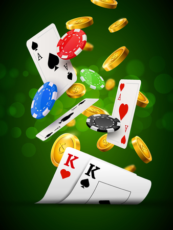 Poker chips casino green poster. Gamble cards and coins success winner royal casino background. Vectores