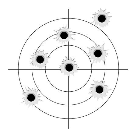 Target with bullet holes. Vector aim bullet hole mark sign.