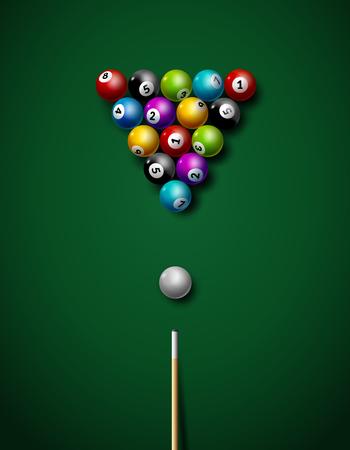 Billiard balls on table vector. Billiard game sport competition leisure illustration. Illustration