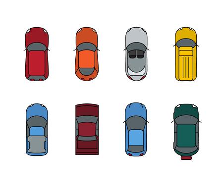 Cars top view set. Flat design style. Vector transport illustration automobile. Traffic car design.