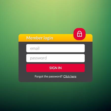 Login user interface. Sign in web element template window. Business website modern ui.  イラスト・ベクター素材